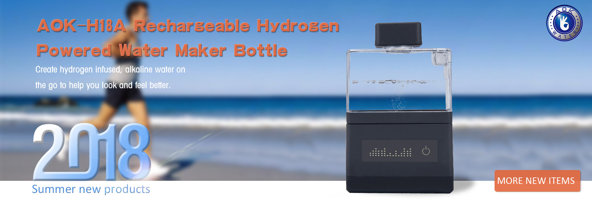 AOK-H18A Rechargeable Hygrogen Powered Water Maker Bottle